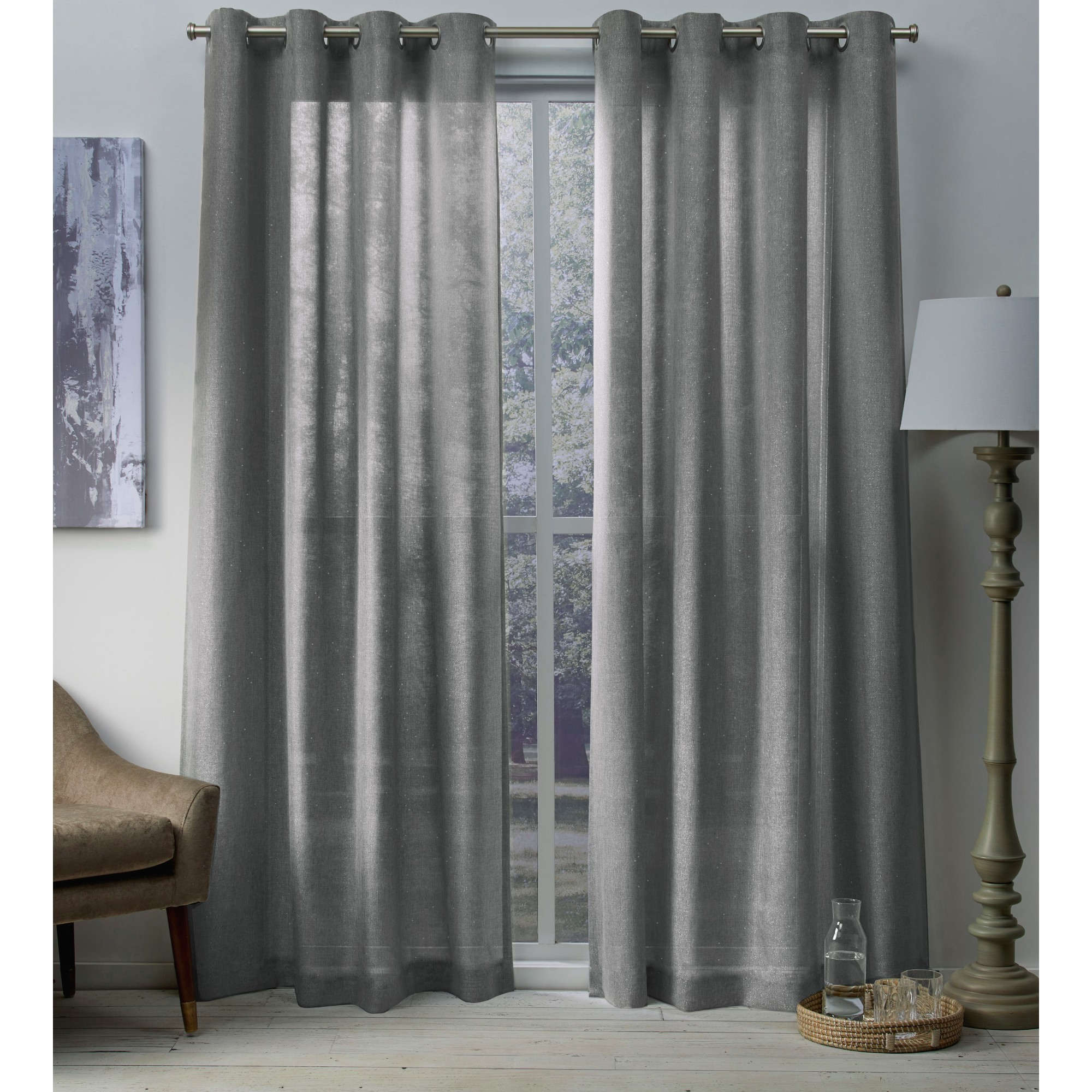 Exclusive Home Curtains 2 Pack Sparkles Heavyweight Metallic Fleck Textured Linen Grommet Top Curtain Panels