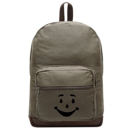 Kool Aid Man Name (Kool Aid Man Face Canvas Teardrop Backpack with Leather Bottom)