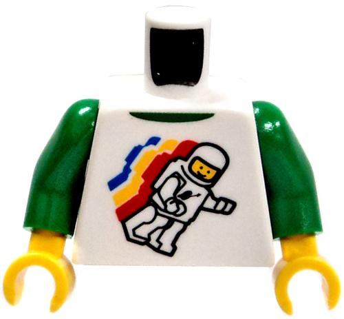LEGO White & Green Shirt with Floating Astronaut Design Loose Torso