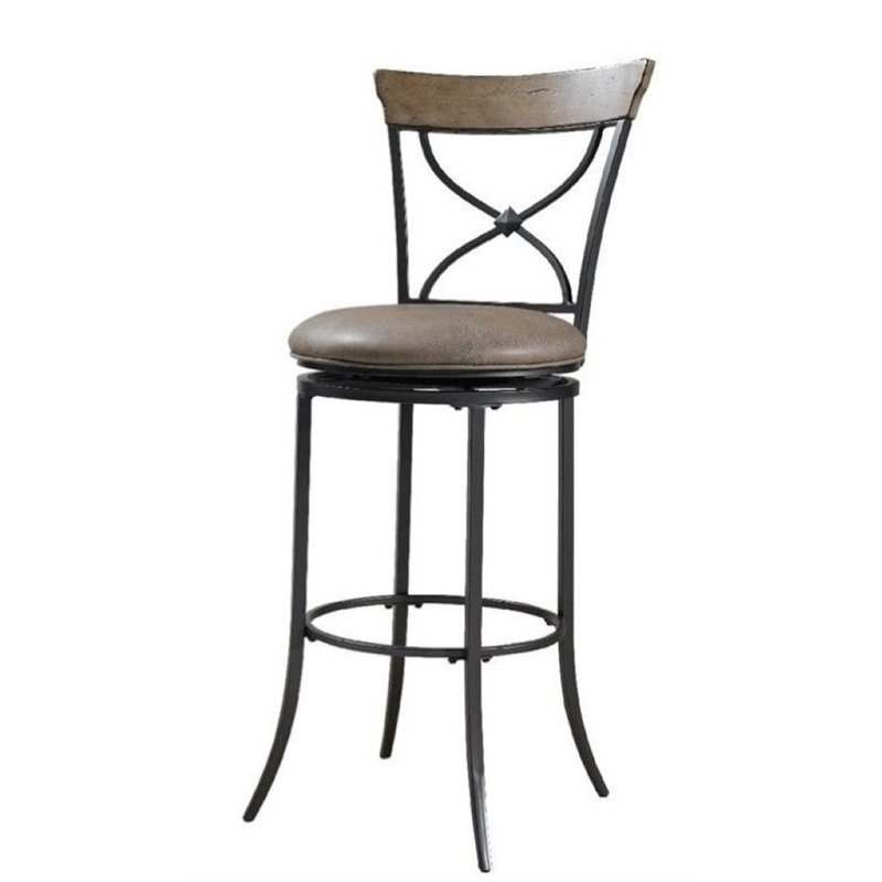 Bowery Hill 30 Quot Faux Leather X Back Swivel Bar Stool In