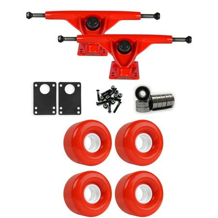 RKP Red Longboard Trucks Wheels Package 62mm x 40mm 83A 485C Red ()