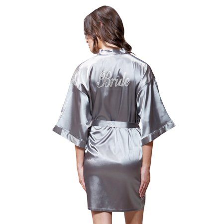 Turquaz Linen - Turquaz Linen Satin Kimono Clear Rhinestone Bride Robe  (Small Medium c6a232121
