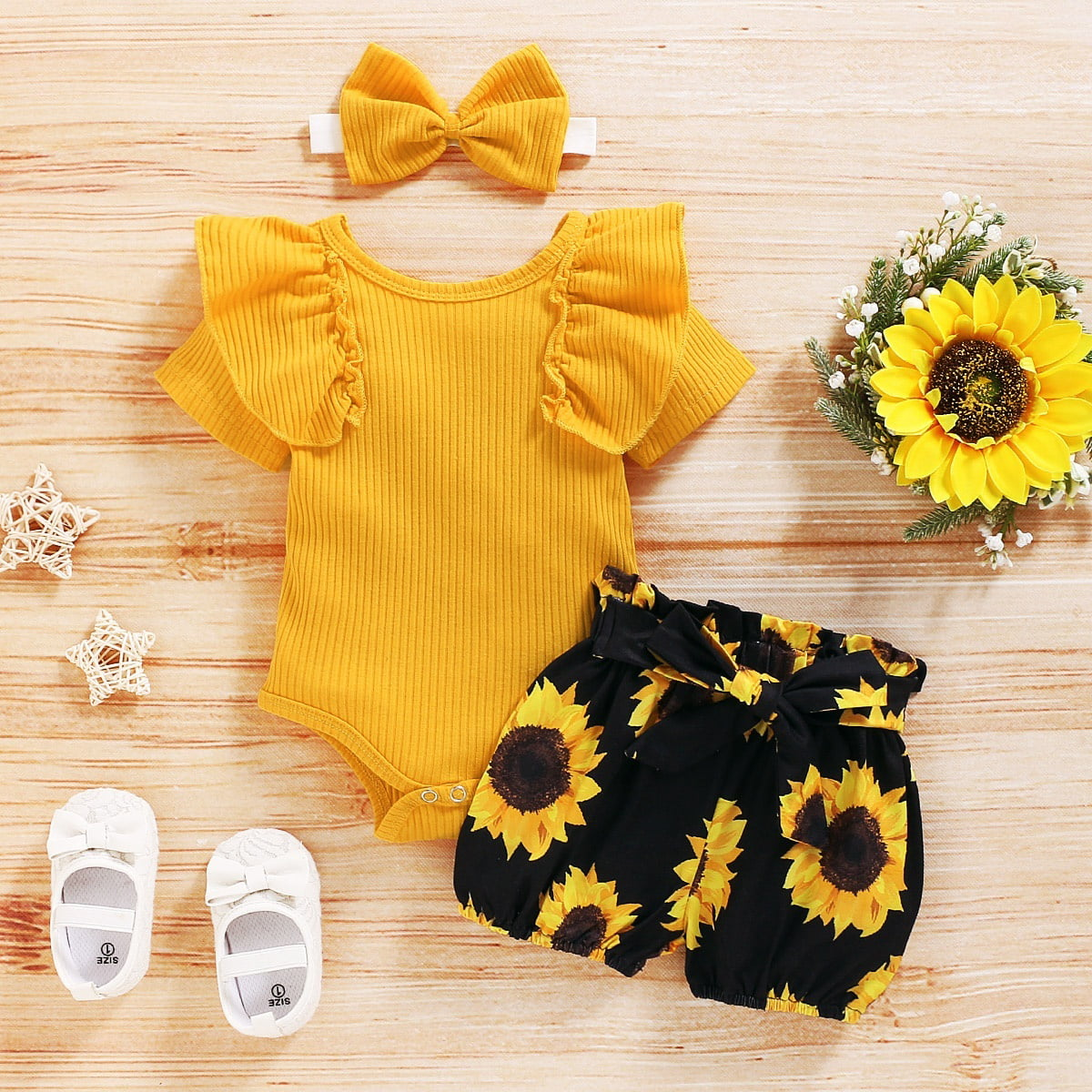 Newborn Baby Girls Short Sleeve Sunflower Print Jumpsuit+Headband Outfits Sets