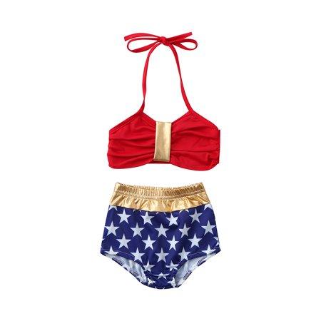 2PCS Toddler Baby Kids Girls Stars Print Swimwear Swimsuit Beachwear Bathing Suit 1-2 Years