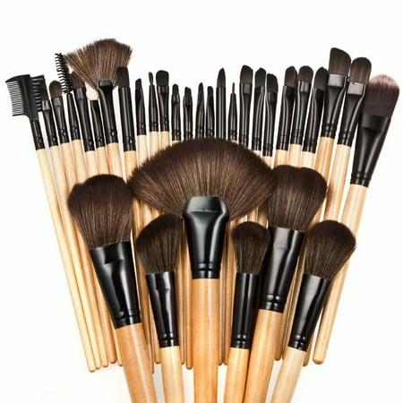 Professional Cosmetic Makeup Brushes Set - Beauty Make Up Face Kit Eyeshadow Foundation Eyeliner Bronzer Concealer Contour Brush for Blending Powder & Cream With Organizer Holder Case 32 Piece (The Best Bronzer Brush)