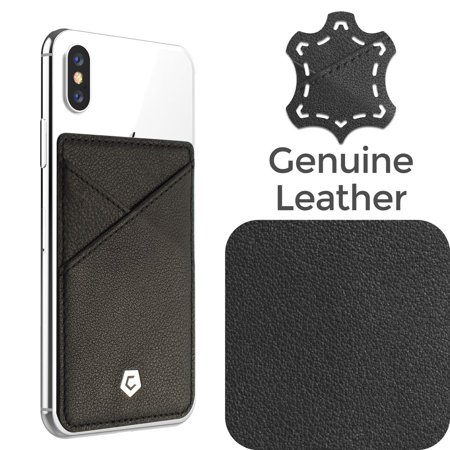 Stick on genuine leather card holder adhesive id business credit stick on genuine leather card holder adhesive id business credit card cash wallet by cobble reheart Image collections