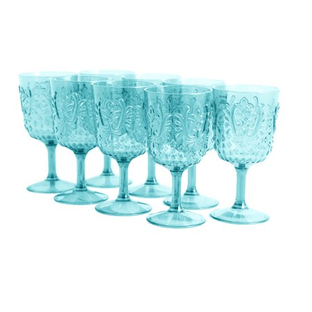 16 Oz Clear Mixing Glass (Studio California Elmira 8 Piece 16 oz. Embossed Clear Teal Goblet Set )
