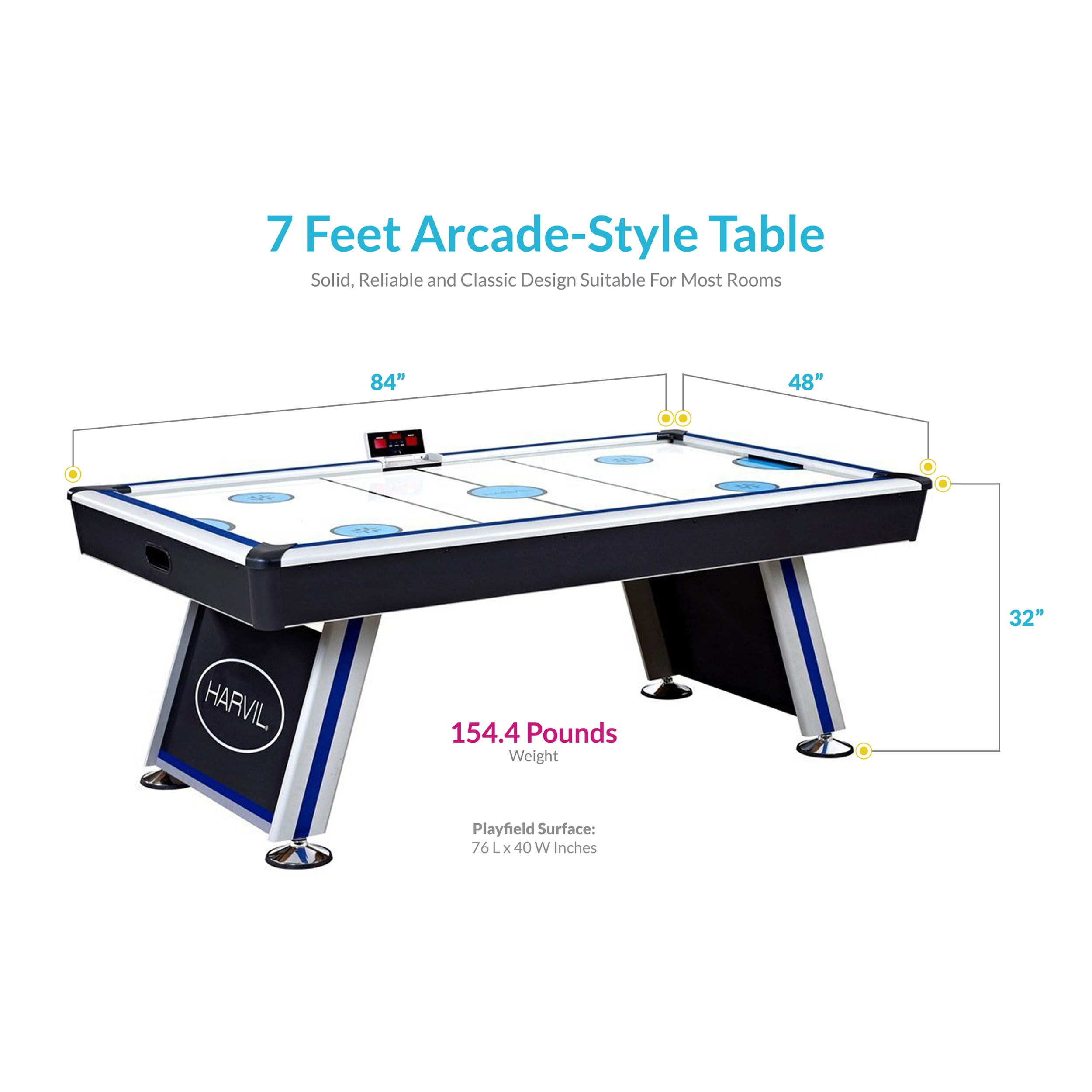 Harvil Air Hockey Table With Electronic Scoring Walmartcom - Classic air hockey table