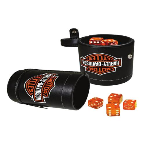 Harley-Davidson Bar & Shield Logo Dice Cup Game Set, Leatherette Cup 651, Harley Davidson
