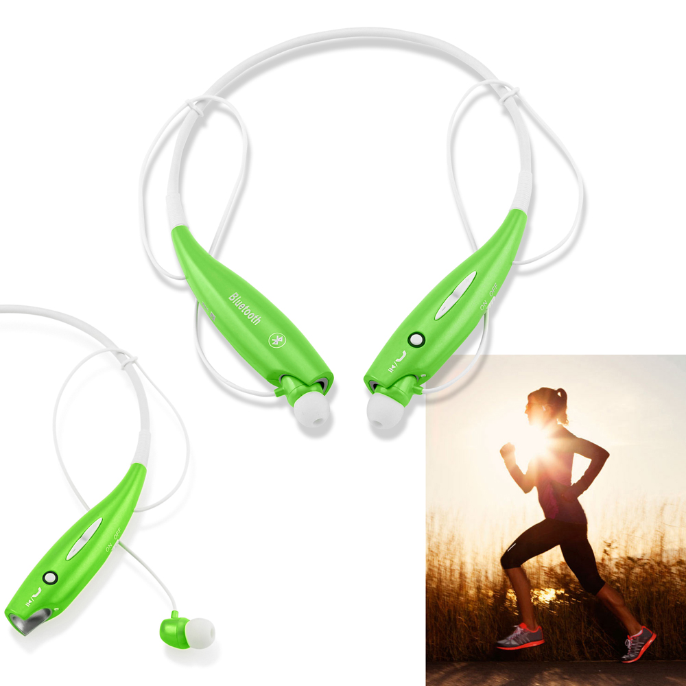 Wireless Stereo Bluetooth Sports Workout Gym Headset Neckband Earphone Earbuds Headphones for Cellphones iPhone Samsung Galaxy - Green