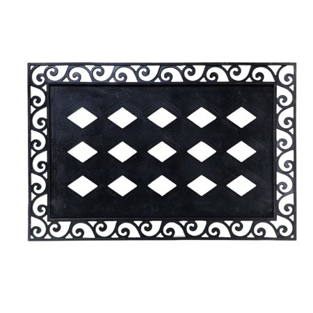 Evergreen Rubber Scroll Embossed Floor Mat Frame, 36 x 24 inches, Extend a warm welcome to all who enter your home By Evergreen Garden from USA