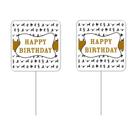Happy Birthday Cowboy Cupcake Picks – 12 Pack - Cowboy Cupcakes
