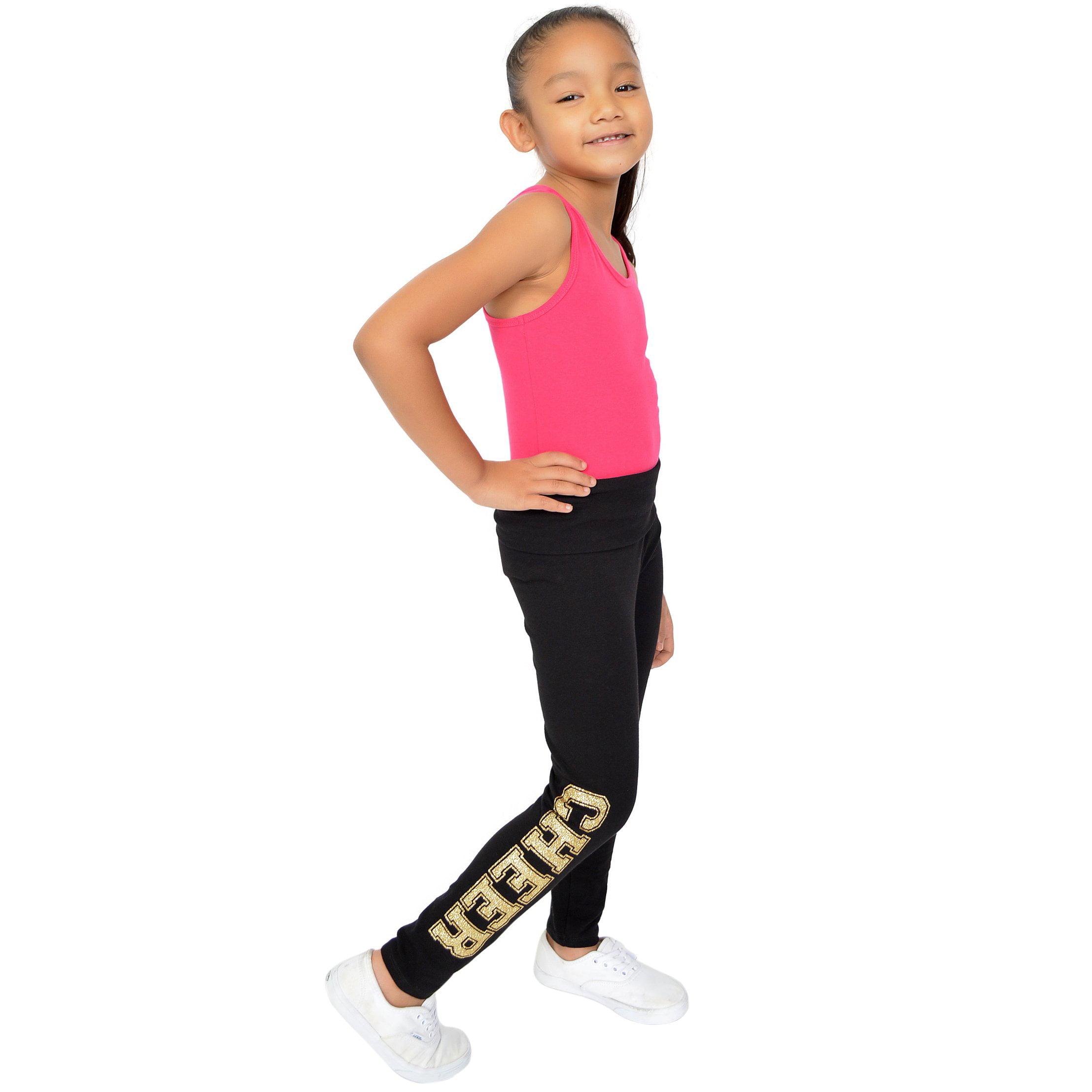 f6c0170bf2e7d Stretch Is Comfort - Teamwear Girl's Women's Plus Size Gold Glitter Cheer  Spirit Foldover Leggings - Large Child (10) / Black - Walmart.com