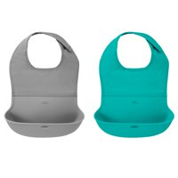 OXO Tot Roll Up Bib, 2 Pack, Gray And Teal