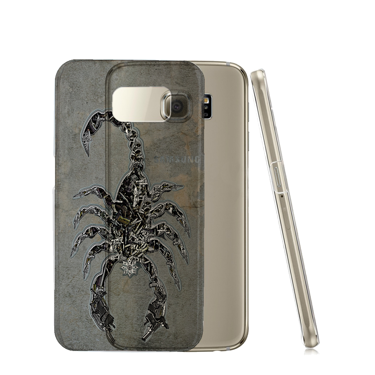 KuzmarK™ Samsung Galaxy S6 Edge Clear Cover Case - Scorpion Weapons Knives