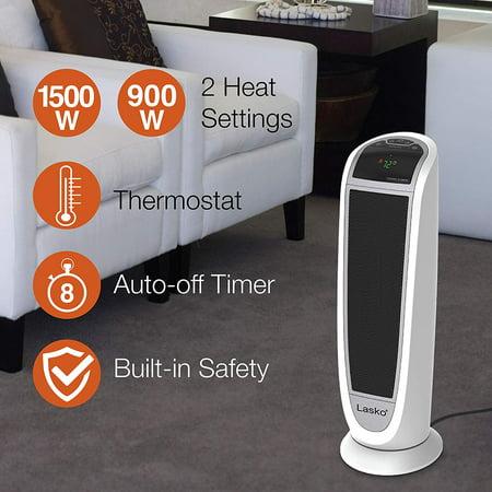 Lasko 5165 Digital Ceramic Tower Heater with Remote Control, 1500W, White