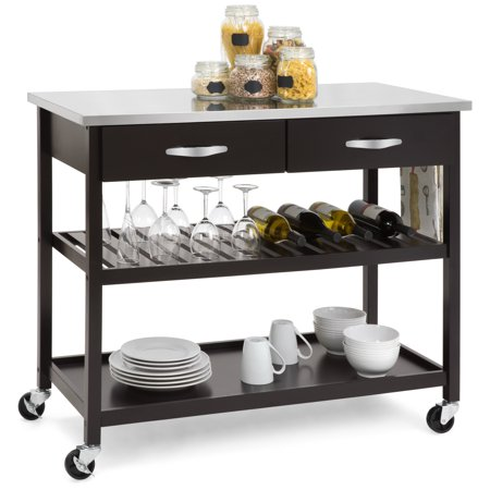 Kitchen Island Shelves - Best Choice Products Mobile Kitchen Island Utility Cart w/ Stainless Steel Countertop, Drawers, and Shelves - Espresso