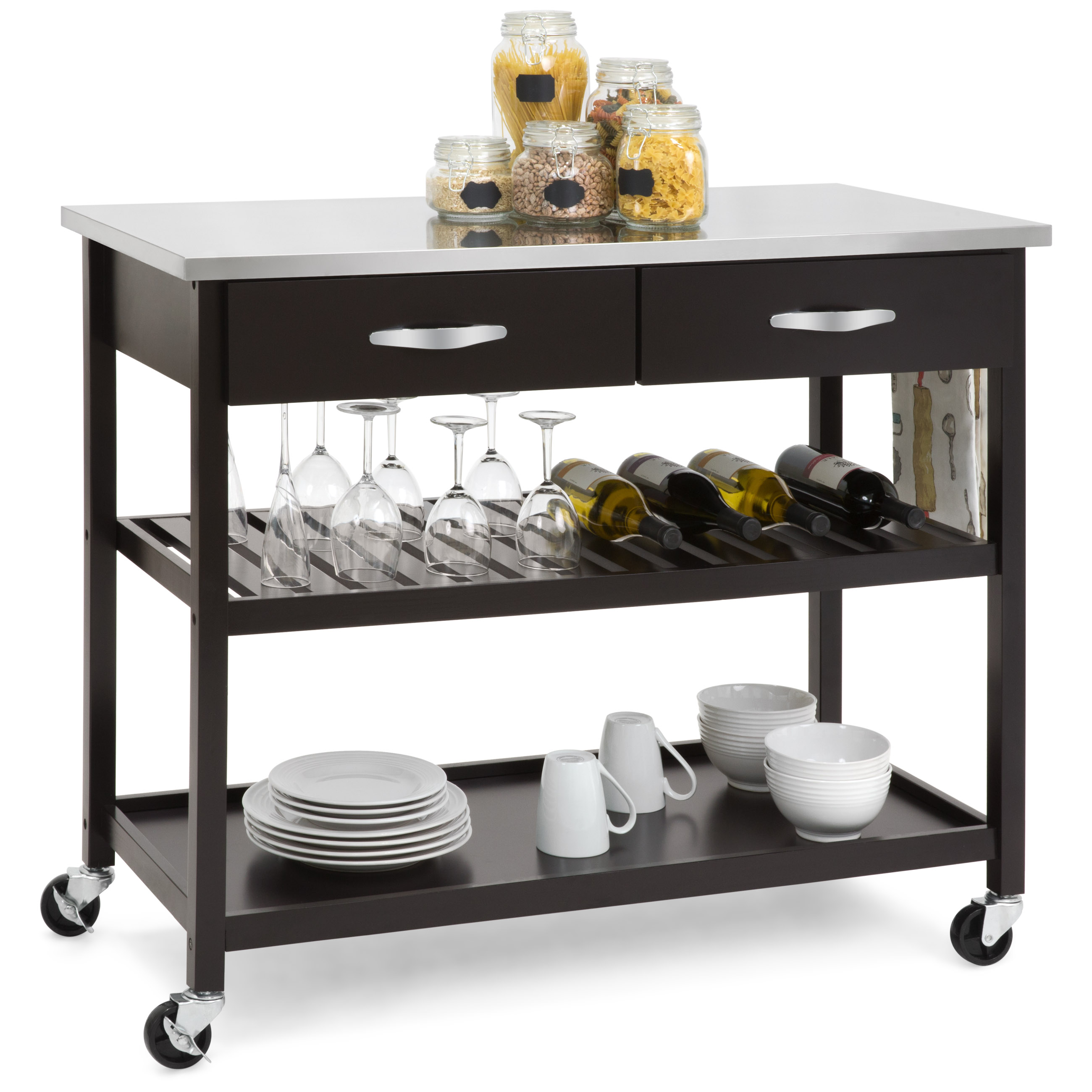 Best Choice Products Mobile Kitchen Island Utility Cart W/ Stainless Steel  Countertop, Drawers,