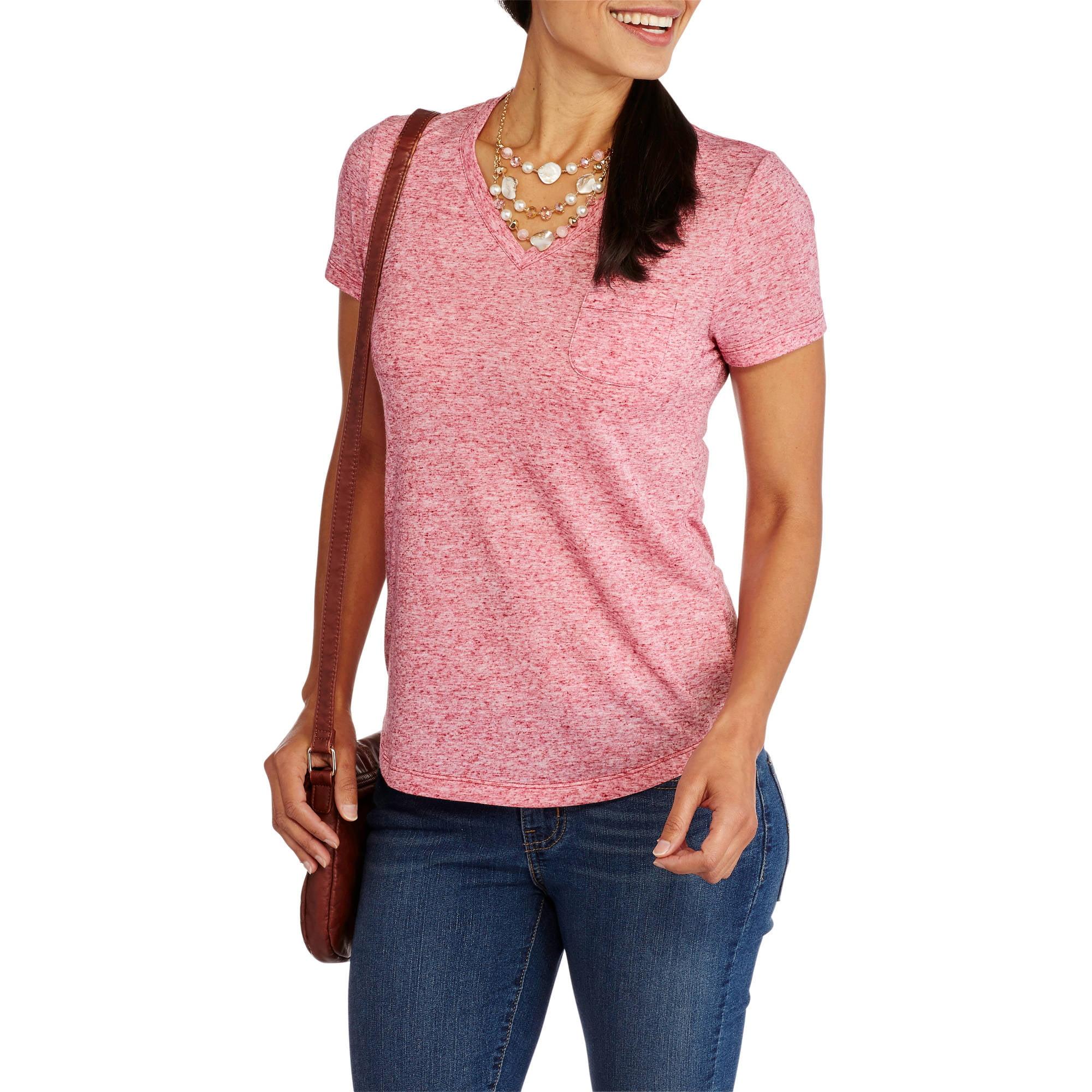 Faded Glory Women's Linen Blend Relaxed fit Short Sleeve V-Neck Pocket T-Shirt
