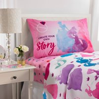 Disney Princesses Microfiber Sheet Set, Kids Bedding, Ariel Belle Cinderella and Repunzel, 3-Piece TWIN