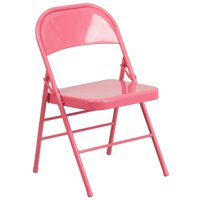 Bubblegum Pink Triple Braced & Double Hinged Metal Folding Chair