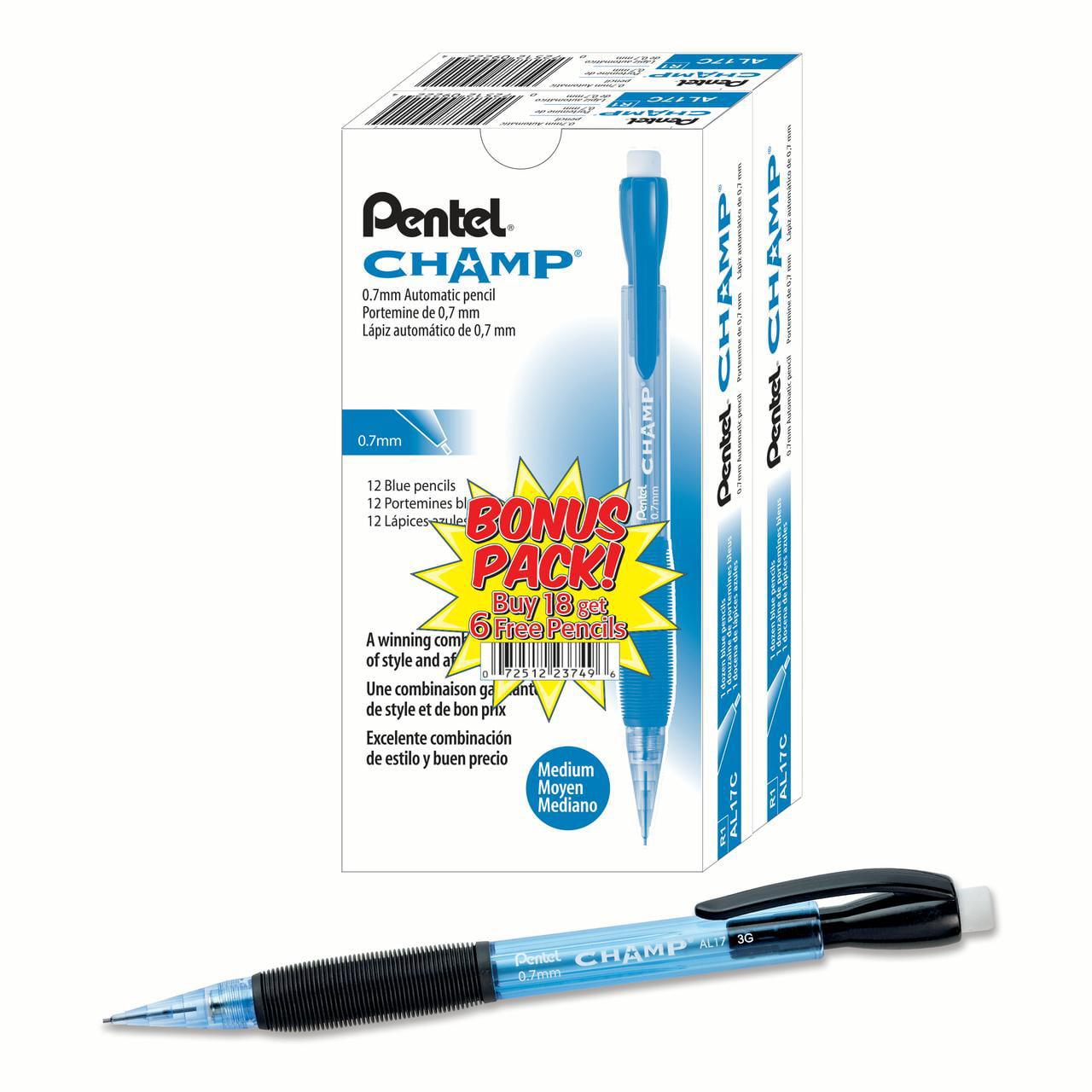 Pentel Champ Mechanical #2 Pencil, 0.7 mm, Blue Barrel, 24pk