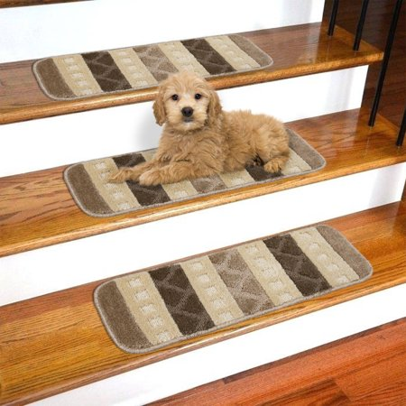 "Ottomanson Softy Brown and Oyster Gray Striped Design Set of 7 Skid Resistant Rubber Backing Non Slip (9""x26"") Stair Tread Mats"