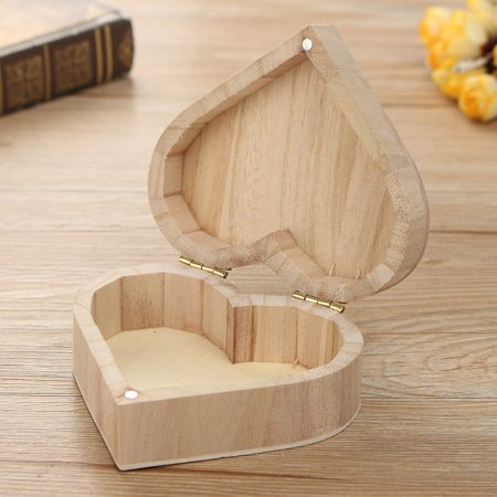 Small Wooden Heart  Box Jewelry Organizer Storage Box Craft Case Home Decor - Wooden Craft Boxes