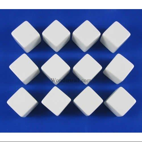 White D6 Blank 16mm Dice Set with Stickers (12)