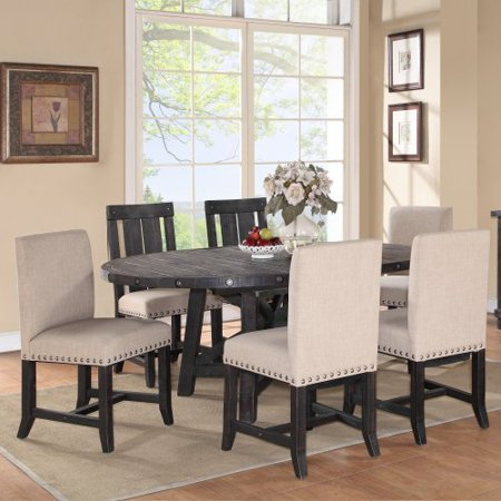 Modus Yosemite 7 Piece Oval Dining Table Set with Mixed Chairs - 4 Upholstered & 2 Wood