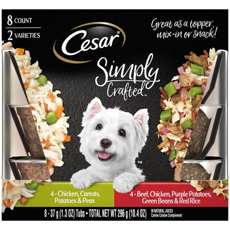 (8 Pack) CESAR SIMPLY CRAFTED Adult Wet Dog Food Meal Topper Variety Pack Chicken, Carrots, Potatoes & Peas and Beef, Chicken, Purple Potatoes, Green Beans & Red Rice, 1.3 oz. (El Monterey Chicken Rice & Beans Burritos)