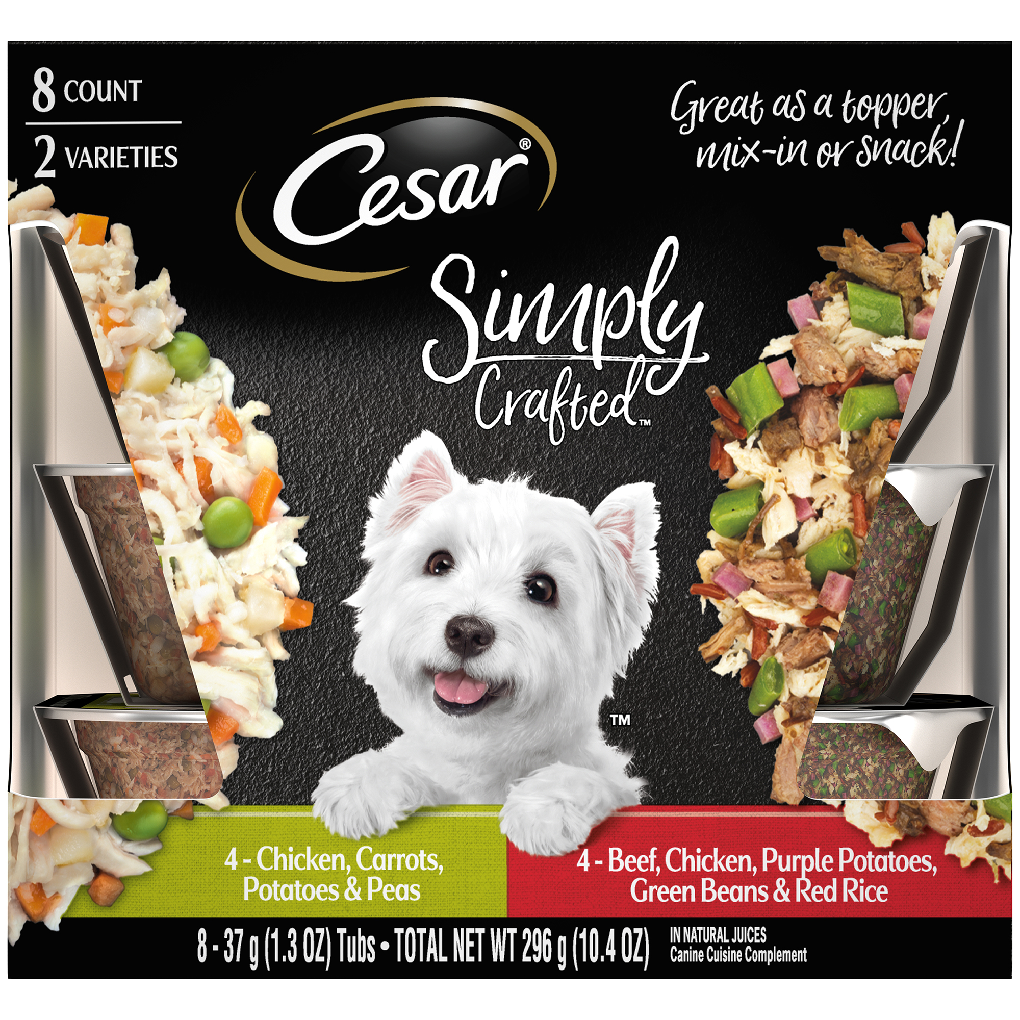 Cesar Simply Crafted Canine Cuisine Complement Adult Wet Dog Food Topper Variety Pack Chicken, Carrots, Potatoes & Peas, and Beef, Chicken, Purple Potatoes, Green Beans & Red Rice, (8) 1.3 oz Tubs