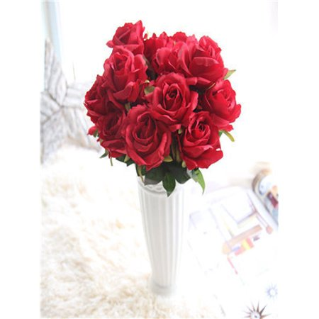 Artificial Fake Silk Roses Flower Bridal Bouquet Wedding Party Home Decor Red