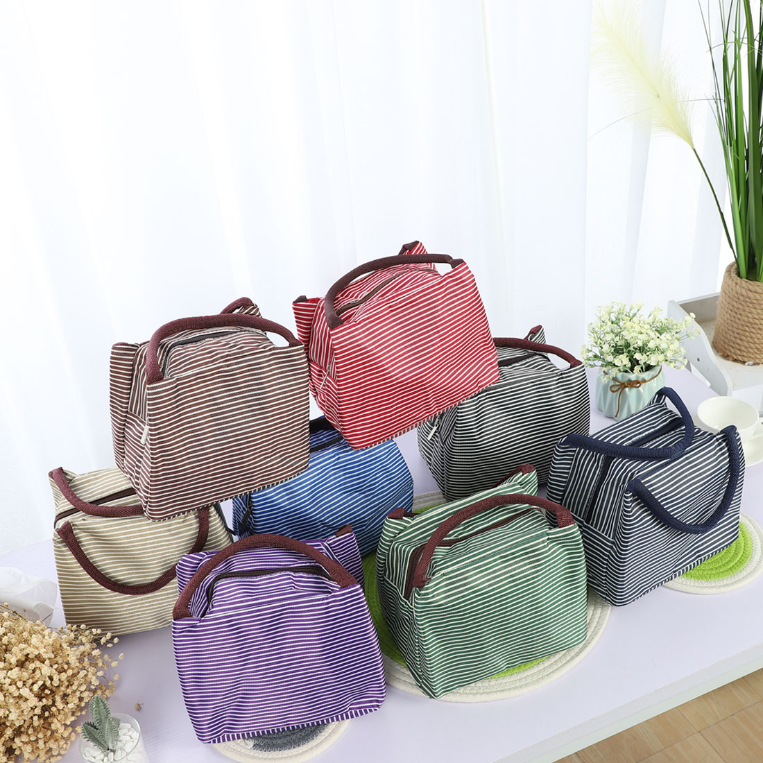 Lunch Bag Warmer Cooler Travel Food Box Tote Carry Insulated Bags Khaki+White - image 5 de 7