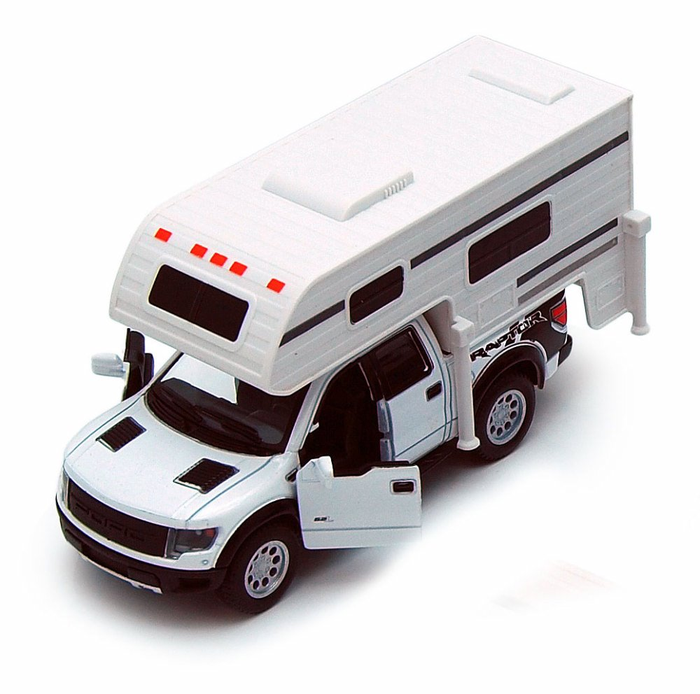 2013 Ford F-150 SVT Raptor SuperCrew Pickup w/ Camper, White - Kinsmart 5502D - 1/46 scale Diecast Model Toy Car (Brand New, but NOT IN BOX)