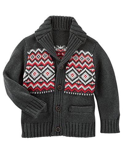 Oshkosh B'gosh Baby Boys' Fair Isle Shawl Collar Cardigan Sweater Grey/Red (24M)