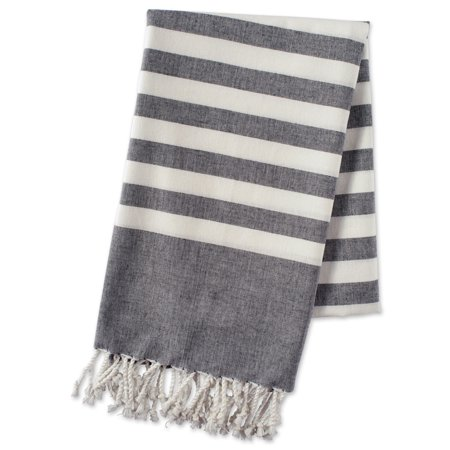 E-Living Store 100% Cotton, Soft & Absorbent Decorative Turkish Fouta Towel with Twisted Fringe for Home, Beach, Pool, or Décor, Use As Blanket or Throw - Black (Best Decorative Towels)