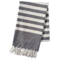 E-Living Store 100% Cotton, Soft & Absorbent Decorative Turkish Fouta Towel with Twisted Fringe for Home, Beach, Pool, or Décor, Use As Blanket or Throw - Black Stripe