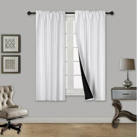 tom white 2 piece 100 blackout room darkening rod pocket window curtain with black foam backing. Black Bedroom Furniture Sets. Home Design Ideas