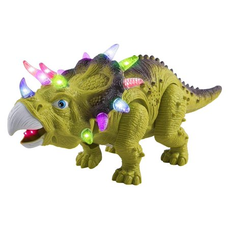 Large Tom - Toy Dinosaur Triceratops Moveable Battery Operated Walking Large 14.5