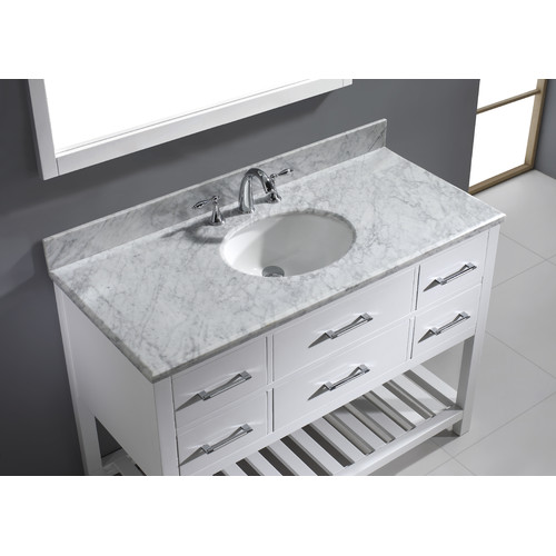 Virtu USA Caroline Estate 49'' Single Bathroom Vanity Set with White Marble Top and Mirror