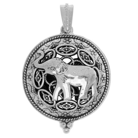 Aromatherapy Diffuser Locket Pendant, Round Hindu Pattern with Elephant 35x43mm, 1 Pendant, Silver (Elephant Silver Pendant)