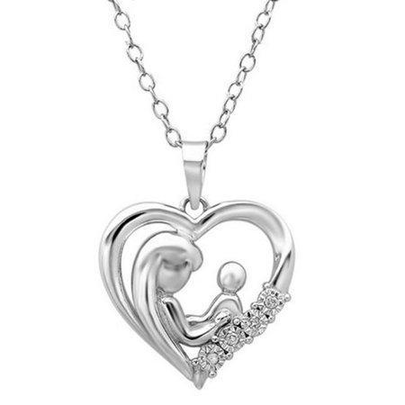 Amanda Rose Collection Mother Child Diamond Heart Pendant - Necklace in Sterling - Ananda Collection