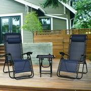 Gymax 3PCS Zero Gravity Recliner Lounge Chairs Pillows Table Portable Folding Navy