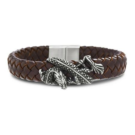 Mens Dragon Brown Leather - Antique Brown Leather Bracelet
