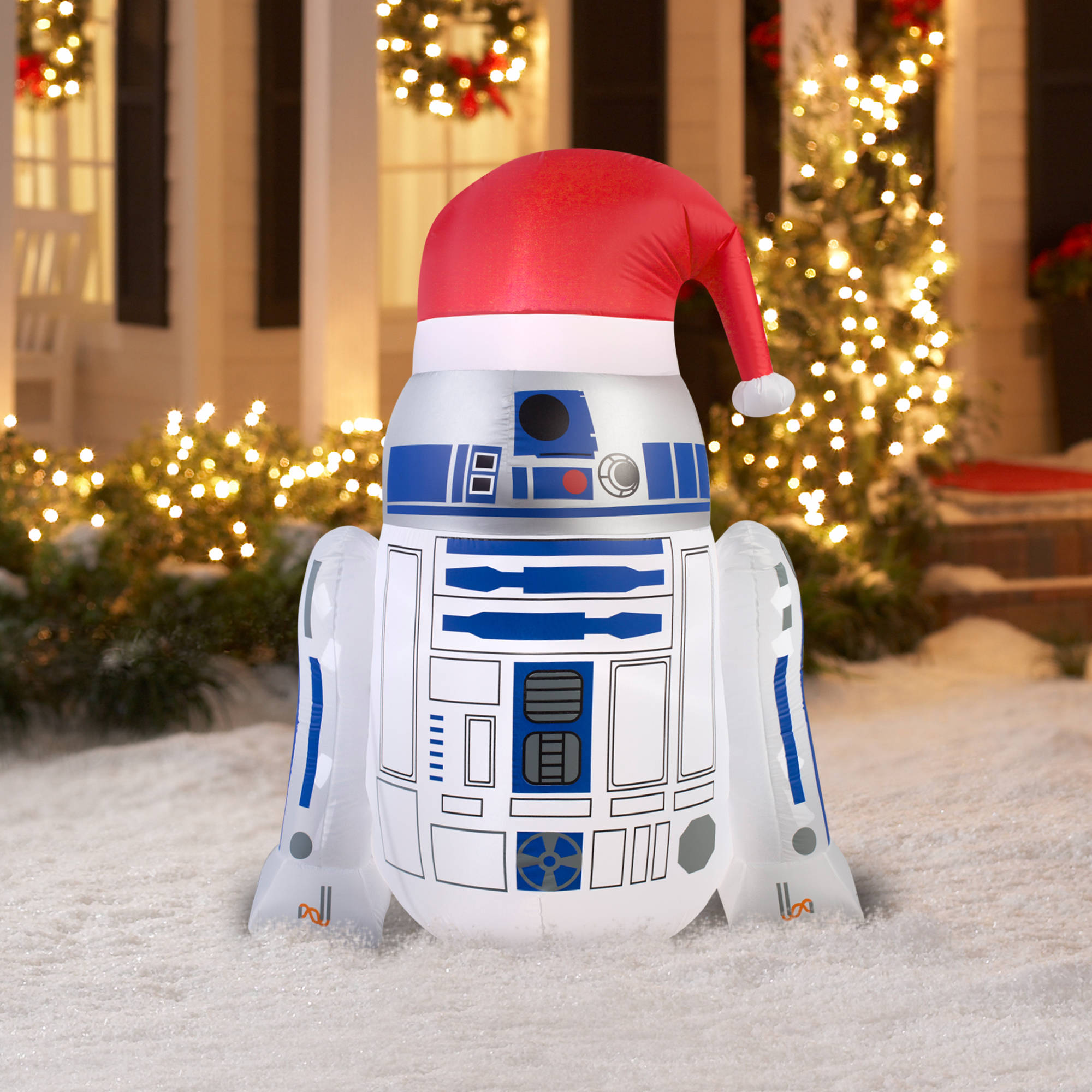 46 airblown inflatable r2d2 with santa hat star wars christmas inflatable walmartcom - Star Wars Inflatable Christmas Decorations