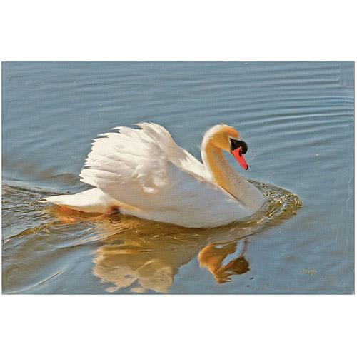 "Trademark Fine Art ""Floating Swan"" Canvas Art by Lois Bryan"