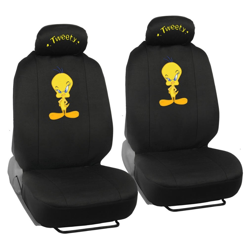 Tweety Bird Car Seat Covers - Auto Interior Gift Set - 2 Front Seat & 1 Rear Seat, Full Set