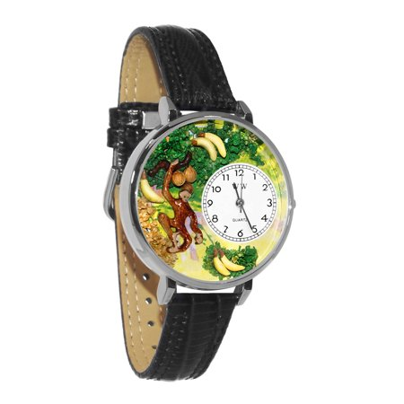 Monkey Black Skin Leather And Silvertone Watch