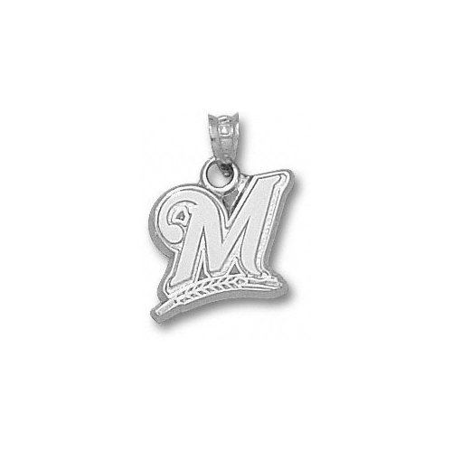 MLB - Milwaukee Brewers 9/16' Sterling Silver ''M'' Pendant